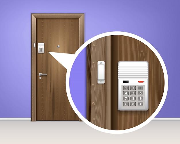 ドア警報システムのリアルな構成 無料ベクター