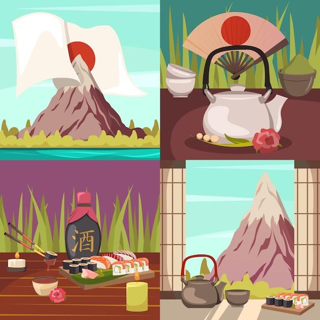 Концепция культуры японии ортогональные иконки Бесплатные векторы
