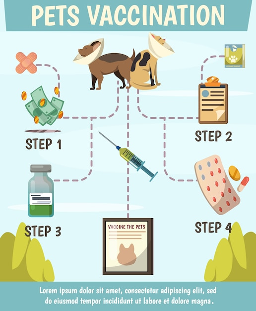 Ортогональная блок-схема принудительной вакцинации домашних животных Бесплатные векторы