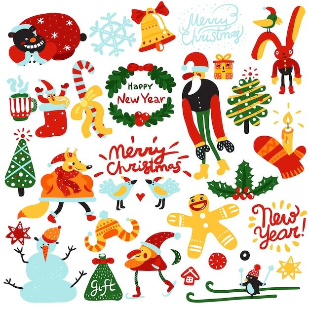 クリスマスと新年の要素 無料ベクター