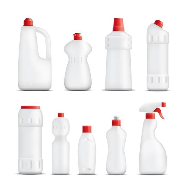 クリーニング製品ボトルコレクション 無料ベクター