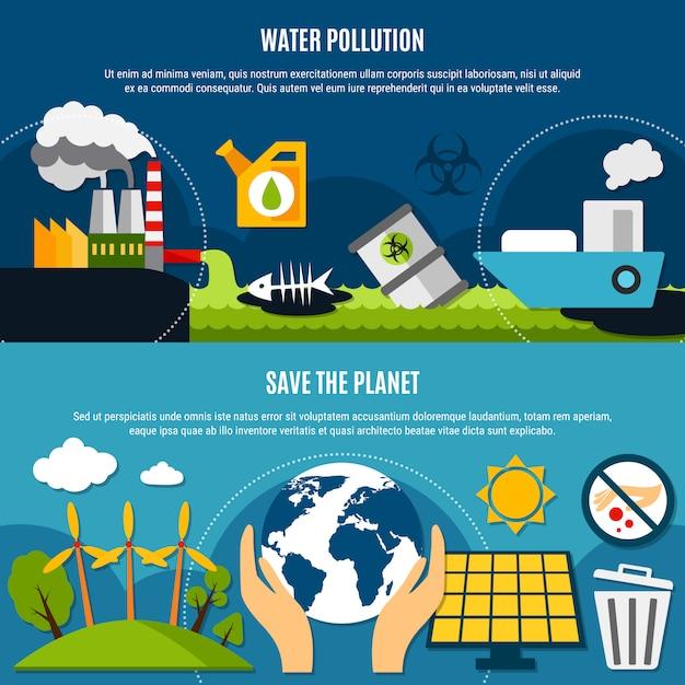 Набор баннеров экологии и загрязнения Бесплатные векторы
