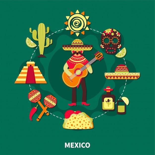 メキシコ旅行イラスト 無料ベクター