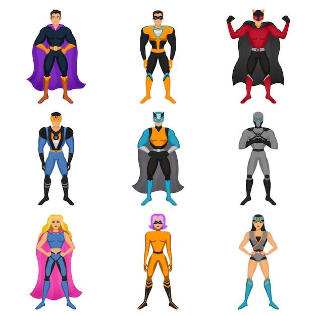 Набор костюмов супергероев Бесплатные векторы