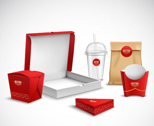 包装ファーストフードの現実的なセット 無料ベクター