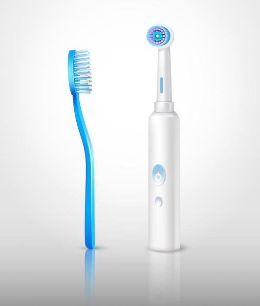 Реалистичный набор зубных щеток Бесплатные векторы
