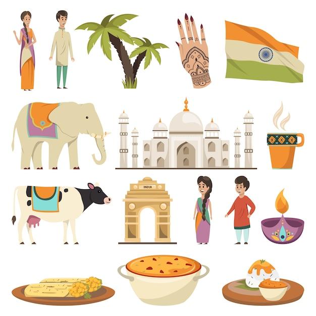 Коллекция элементов индии Бесплатные векторы