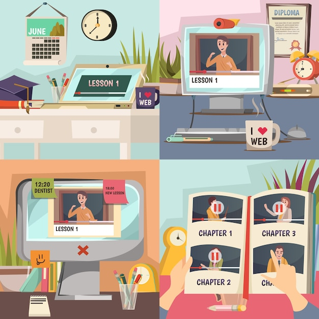 Набор онлайн образовательных иллюстраций Бесплатные векторы