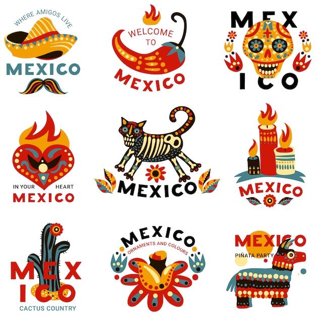 メキシコのラベルセット 無料ベクター