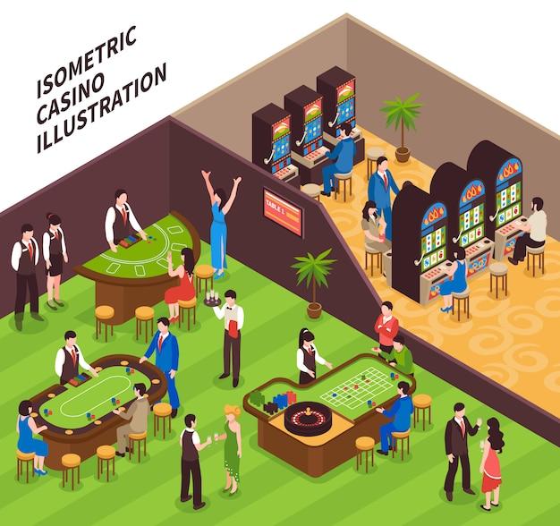 Изометрические казино иллюстрация Бесплатные векторы