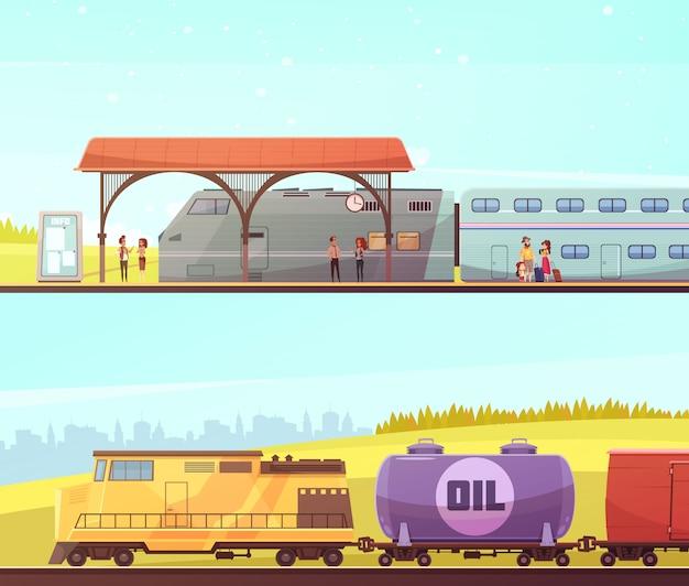 Железнодорожные горизонтальные баннеры Бесплатные векторы