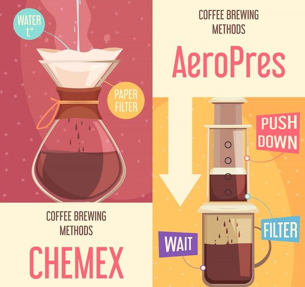 コーヒー醸造方法垂直バナー 無料ベクター