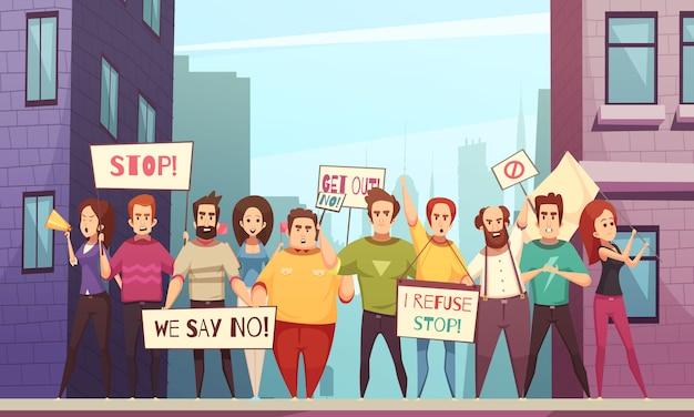 群衆のベクトル図に抗議 無料ベクター