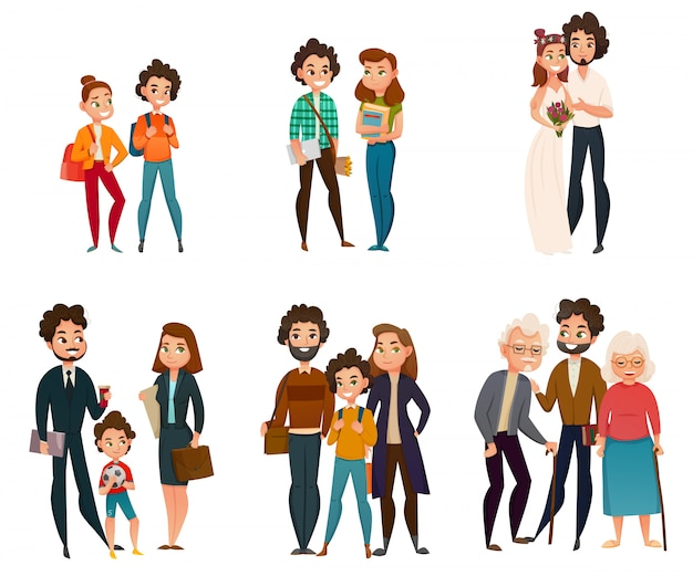 Этапы развития семьи Бесплатные векторы