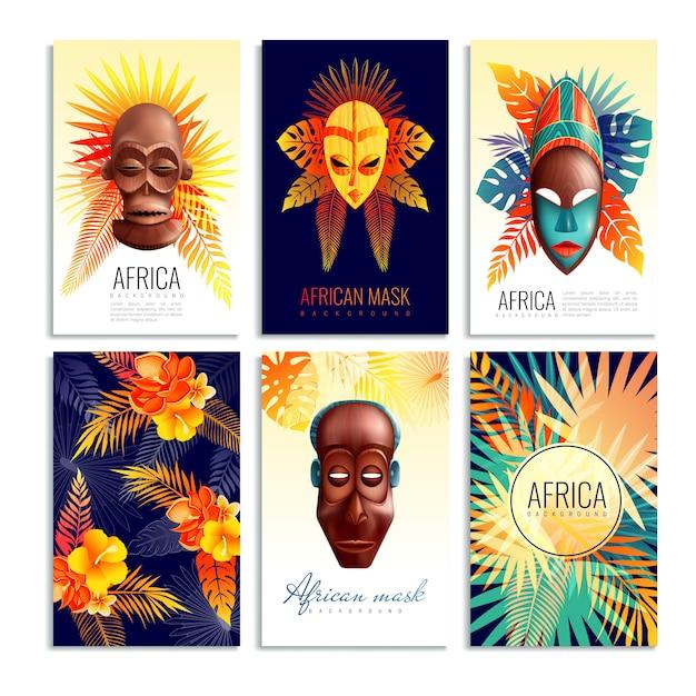 アフリカのマスクカードセット 無料ベクター
