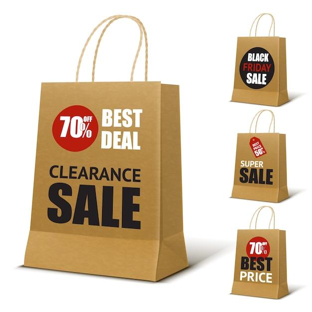 紙の買い物袋のモックアップ 無料ベクター