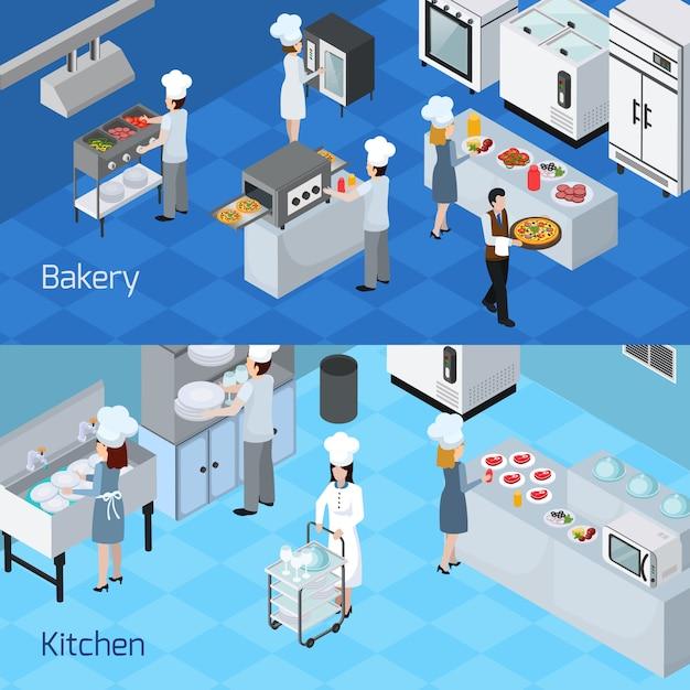 Профессиональный кухонный интерьер горизонтальные баннеры Бесплатные векторы