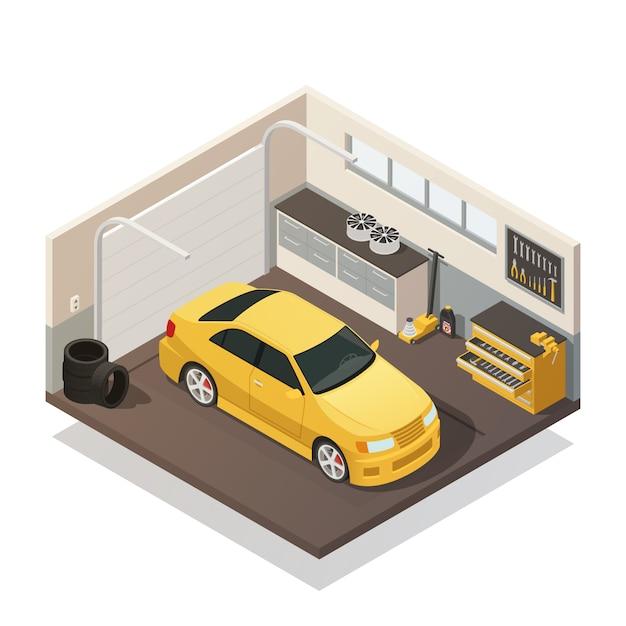 車メンテナンスサービス等尺性インテリア 無料ベクター