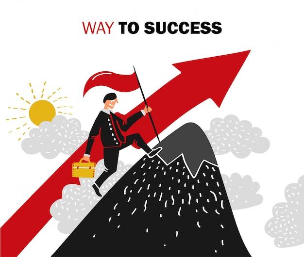 Иллюстрация успеха в бизнесе Бесплатные векторы