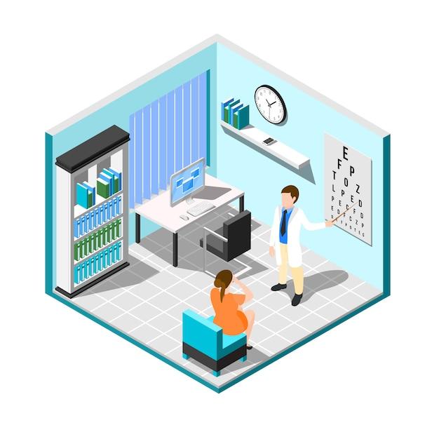 Пациент в офисе окулиста Бесплатные векторы