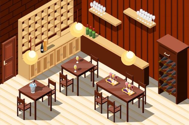 ワインレストランのインテリア 無料ベクター