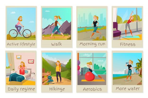 Набор карточек здорового образа жизни Бесплатные векторы