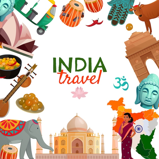 Индия путешествия фон Бесплатные векторы