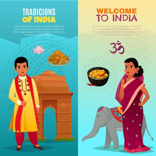 Вертикальные баннеры индии Бесплатные векторы
