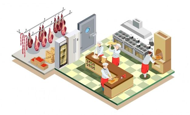 レストランキッチン等尺性組成物 無料ベクター