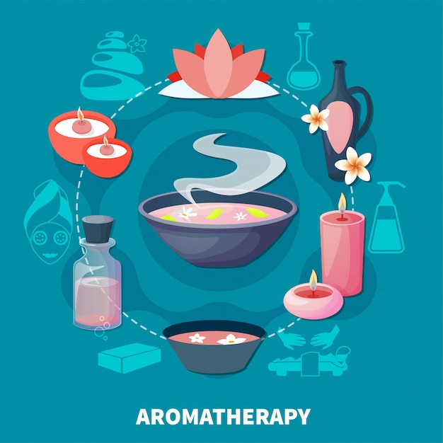 Спа ароматерапия ароматы плоский плакат Бесплатные векторы