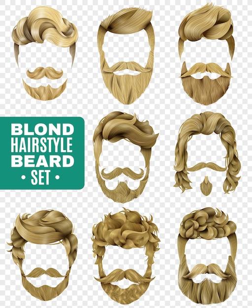 現実的な男性の髪型セット 無料ベクター