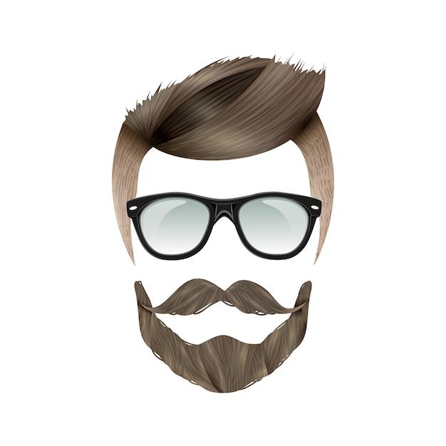 現実的なヒップスターの髪型 無料ベクター