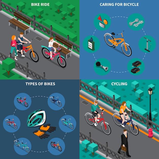 自転車シーン等尺性セット 無料ベクター