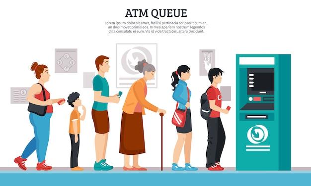 Иллюстрация очереди банкомата Бесплатные векторы