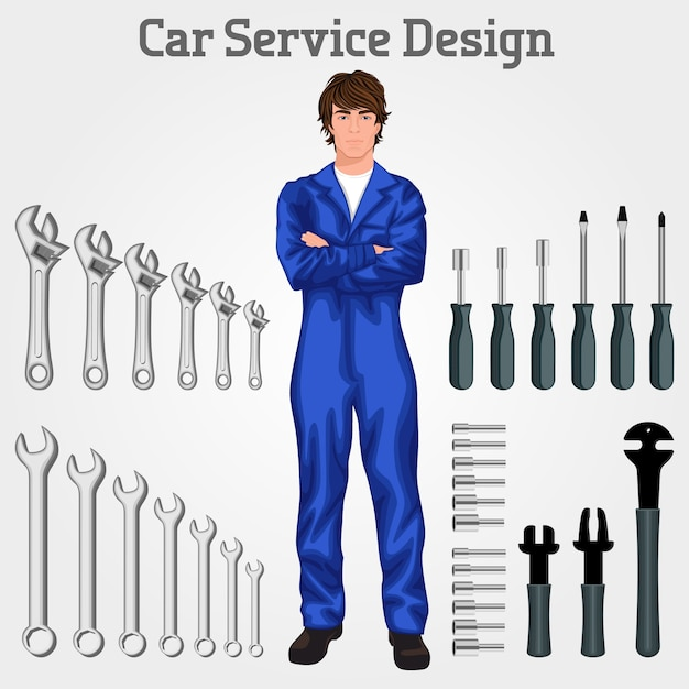 ハンサムな自動車サービスの整備士の男は、全体の手に立ってツールの背景ベクトルのイラストを交差 無料ベクター
