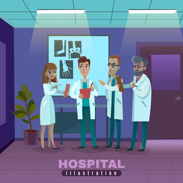 Врачи в больнице иллюстрации Бесплатные векторы