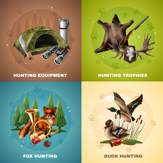 Концепция дизайна охоты Бесплатные векторы
