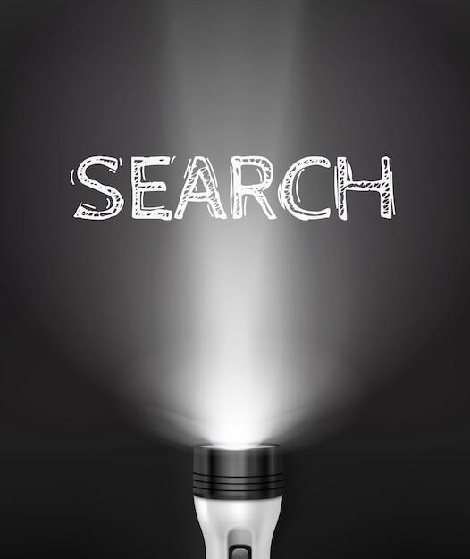 現実的な懐中電灯検索コンセプト 無料ベクター