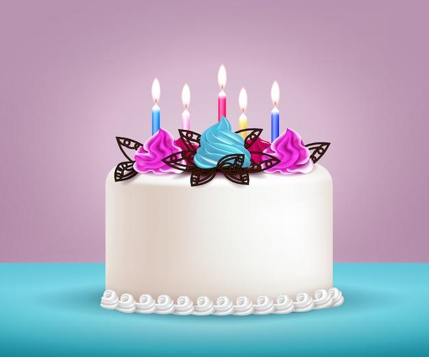 誕生日ケーキのイラスト 無料ベクター