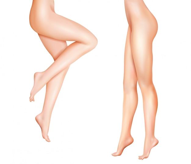 女性の足のリアルなイラスト 無料ベクター