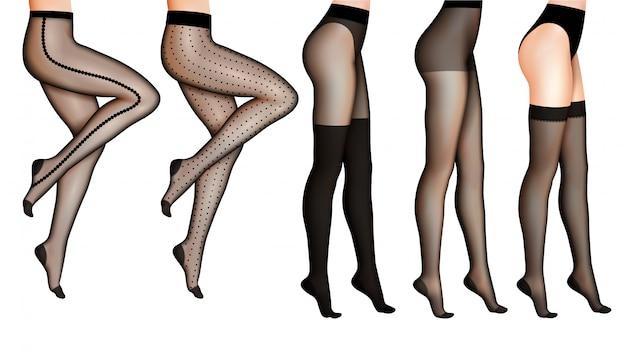 Женские ноги и чулки реалистичные иллюстрации Бесплатные векторы