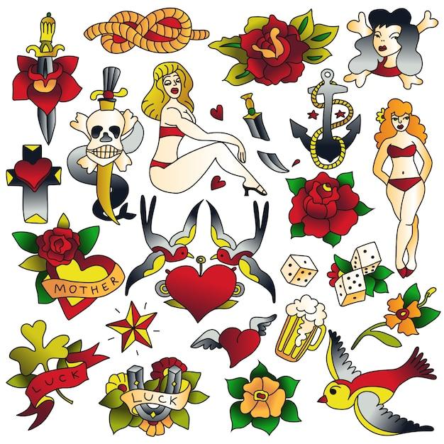 Набор иконок старой татуировки школы Бесплатные векторы