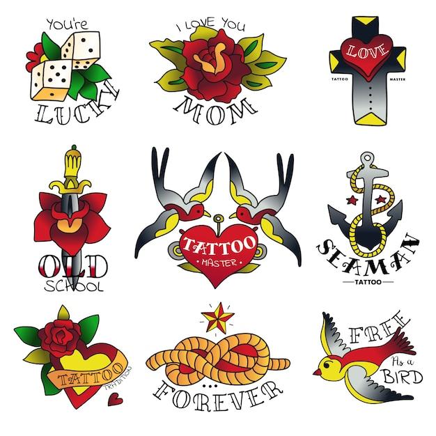 Эмблемы старой школы татуировки Бесплатные векторы