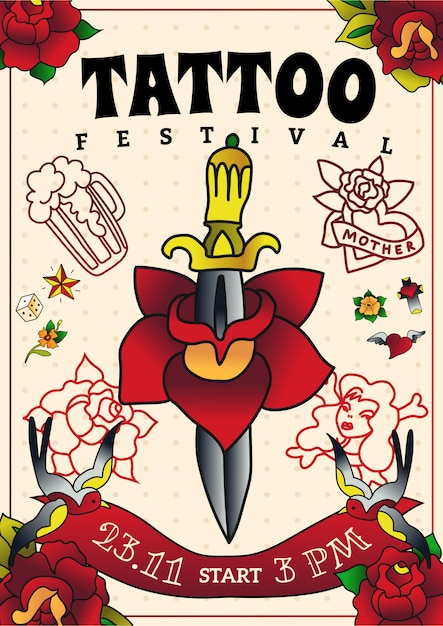 Плакат фестиваля татуировки Бесплатные векторы