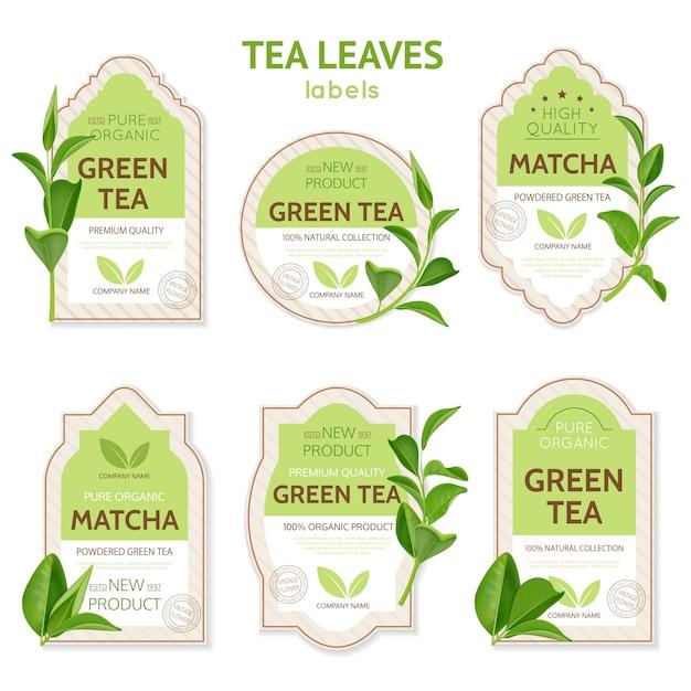 Реалистичные этикетки для чайных листьев Бесплатные векторы