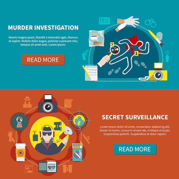 Набор двух детективных баннеров Бесплатные векторы