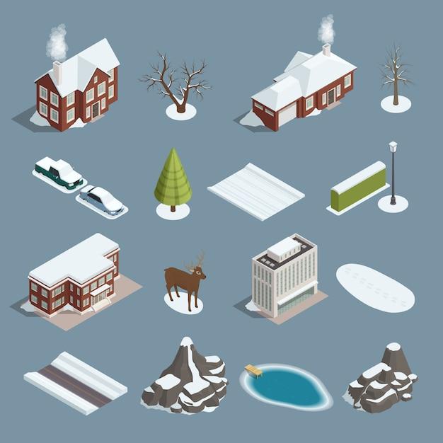 Зимний пейзаж конструктор изометрические набор Бесплатные векторы