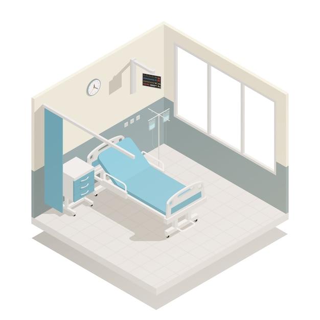 Оборудование больничной палаты изометрические Бесплатные векторы