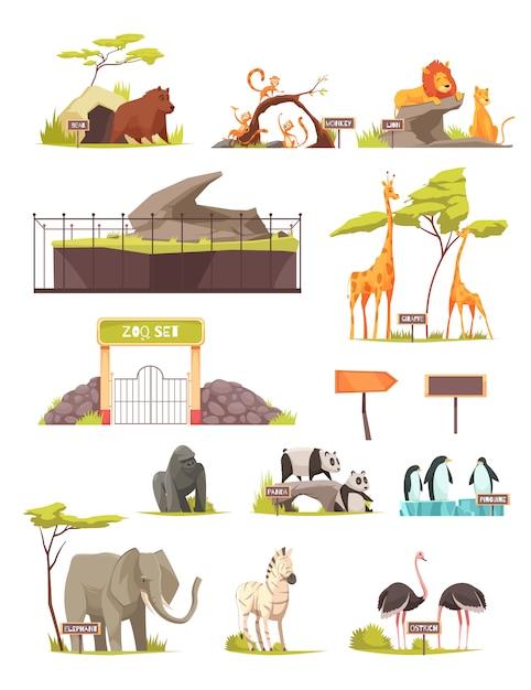 動物園動物漫画アイコンセットのコレクション 無料ベクター