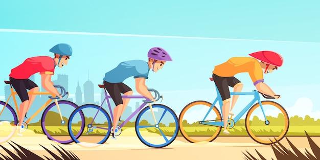 サイクル競争レーシング漫画 無料ベクター